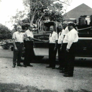 In 1969, DFC held an open house for our 40th Anniversary. Here are some of our past line officers accepting the keys to the new 1969 Chevy Pumper. Left to Right: Brunco Officials, Ken Wilson (President), George Messer, Joe Layman, and Herbert Wentzell.